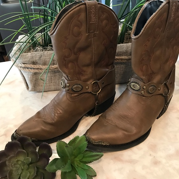 Laredo Kids Brown Little Concho Cowboy Boots